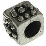 925 Sterling Silver Beads, Tajlandë, Kub, 5x5x4mm, : 2.4mm, 10PC/Qese,  Qese