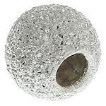 925 Sterling Silver Beads, Round, argjend praruar vërtetë, Stardust, 6.20x5.20mm, : 2.5mm, 10PC/Qese,  Qese
