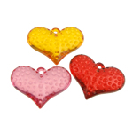 Pendants akrilik, Zemër, i tejdukshëm, ngjyra të përziera, 37x27x11mm, : 2mm, 85PC/Qese,  Qese