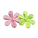 Beads transparente akrilik, Lule, i tejdukshëm, ngjyra të përziera, 31x35x7mm, : 2mm, 167PC/Qese,  Qese
