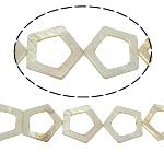 Natürliche weiße Muschelperlen, Fünfeck, weiß, 30x30x3mm, Bohrung:ca. 2mm, 13PCs/Strang, verkauft per 15.5 ZollInch Strang