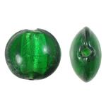 Silberfolie Lampwork Perlen, flache Runde, grün, 15x8mm, Bohrung:ca. 1.5mm, 100PCs/Tasche, verkauft von Tasche
