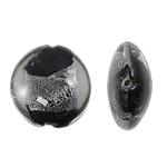 Silberfolie Lampwork Perlen, flache Runde, schwarz, 20x9mm, Bohrung:ca. 2mm, 100PCs/Tasche, verkauft von Tasche