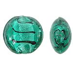 Silberfolie Lampwork Perlen, flache Runde, waldgrün, 20mm, Bohrung:ca. 1.5mm, 100PCs/Tasche, verkauft von Tasche