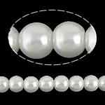 Glass Beads Pearl, Glass Pearl, Round, asnjë, e bardhë, 8mm, : 1.5mm, :31Inç, 105PC/Fije floku,  31Inç,