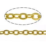Oval Zinxhiri tunxh, ngjyrë ari praruar, asnjë, , nikel çojë \x26amp; kadmium falas, 2.50x2x0.30mm, :100m,  Shumë