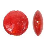 Silberfolie Lampwork Perlen, flache Runde, rot, 29x13mm, Bohrung:ca. 2mm, 100PCs/Tasche, verkauft von Tasche