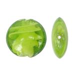 Innerer Twist Lampwork Perlen, flache Runde, grün, 28x12mm, Bohrung:ca. 2mm, 100PCs/Tasche, verkauft von Tasche