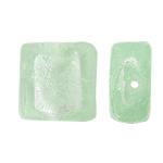 Silberfolie Lampwork Perlen, Quadrat, hellgrün, 12x6mm, Bohrung:ca. 2mm, 100PCs/Tasche, verkauft von Tasche