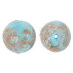Goldsand Lampwork Perlen, rund, blau, 15mm, Bohrung:ca. 1.5mm, 100PCs/Tasche, verkauft von Tasche
