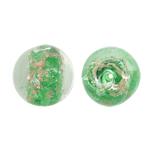 Goldsand Lampwork Perlen, rund, grün, 15mm, Bohrung:ca. 1.5mm, 100PCs/Tasche, verkauft von Tasche
