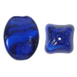Innerer Twist Lampwork Perlen, oval, blau, 17x24mm, Bohrung:ca. 2mm, 100PCs/Tasche, verkauft von Tasche