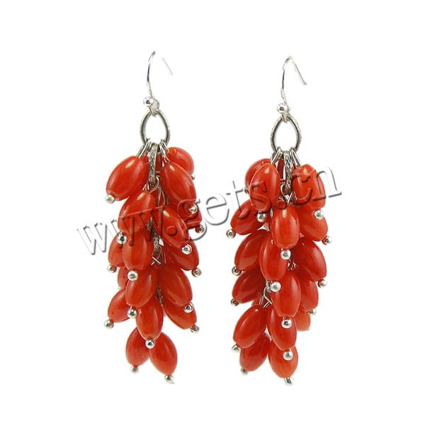 Coral Drop Earring, Synthetic Coral, iron earring hook, Oval, red, 18x58mm, 12Pairs/Bag, Sold By Bag