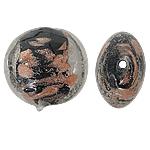 Rërë Beads Gold Lampwork, Round Flat, rërë ari, e zezë, 12x8mm, : 1.5mm, 100PC/Qese,  Qese