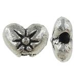 Beads Zink Alloy Zemra, Alloy zink, Zemër, Ngjyra antike argjendi praruar, asnjë, , nikel çojë \x26amp; kadmium falas, 9x7x4mm, : 1mm, 1428PC/KG,  KG