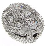 Alloy zink Beads diamant i rremë, Oval, ngjyrë platin praruar, me diamant i rremë, 22.50x16.30x15.50mm, : 1.8mm, 20PC/Qese,  Qese