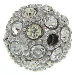 Strass Zinklegierung Perlen, rund, Platinfarbe platiniert, mit Strass, frei von Nickel, Blei & Kadmium, 14mm, Bohrung:ca. 1.7mm, 30PCs/Tasche, verkauft von Tasche