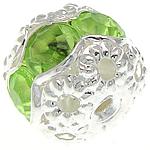 Strass Messing Perlen, Trommel, silberfarben plattiert, mit Acryl Strass & hohl, frei von Nickel, Blei & Kadmium, 8.50x7.50mm, Bohrung:ca. 1.2mm, 100PCs/Tasche, verkauft von Tasche