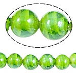 Inner Beads Lampwork Twist, Round, e gjelbër, 14mm, : 2mm, 100PC/Qese,  Qese