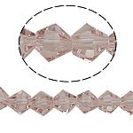 Doppelkegel Kristallperlen, Kristall, facettierte, Vintage Rose, 6x6mm, Bohrung:ca. 0.8-1.2mm, Länge:10.5 ZollInch, 10SträngeStrang/Tasche, verkauft von Tasche