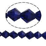 Doppelkegel Kristallperlen, Kristall, facettierte, tiefblau, 8x8mm, Bohrung:ca. 1.5mm, Länge:10.5 ZollInch, 10SträngeStrang/Tasche, verkauft von Tasche