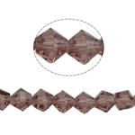 Doppelkegel Kristallperlen, Kristall, facettierte, heller Amethyst, 6x6mm, Bohrung:ca. 1mm, Länge:12.5 ZollInch, 10SträngeStrang/Tasche, verkauft von Tasche
