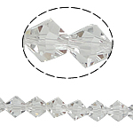 Bicone Beads Crystal, Kristal, asnjë, faceted, Kristal, 8x8mm, : 1mm, :10.5Inç, 10Fillesat/Qese,  Qese