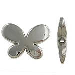 Verkupfertes Kunststoff-Perlen, Verkupferter Kunststoff, Schmetterling, Platinfarbe platiniert, frei von Nickel, Blei & Kadmium, 29x21x6mm, Bohrung:ca. 2.5mm, 5Taschen/Menge, 200/Tasche, verkauft von Menge
