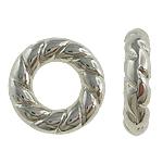 Verkupfertes Kunststoff-Perlen, Verkupferter Kunststoff, Kreisring, Platinfarbe platiniert, großes Loch, frei von Nickel, Blei & Kadmium, 15x3.50mm, Bohrung:ca. 8mm, 5Taschen/Menge, 500/Tasche, verkauft von Menge