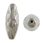 Veshura bakri Beads plastike, plastike bakrit të veshura, Oval, ngjyrë platin praruar, asnjë, asnjë, , nikel çojë \x26amp; kadmium falas, 13x36mm, : 0.5mm, 100PC/Qese,  Qese