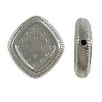Veshura bakri Beads plastike, plastike bakrit të veshura, Romb, ngjyrë platin praruar, asnjë, asnjë, , nikel çojë \x26amp; kadmium falas, 17x19x4mm, : 0.5mm, 500PC/Qese,  Qese