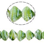 Handgewickelte Perlen, Lampwork, Schale, grün, 21x14x10mm, Bohrung:ca. 2mm, Länge:11.5 ZollInch, verkauft von Tasche
