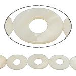 Beads Natyrore White Shell, Oval Flat, asnjë, e bardhë, 26x32x3mm, : 2mm, :15Inç,  15Inç,