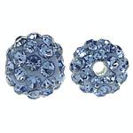 Strass Ton befestigte Perlen, rund, mit 50 Stück Strass & mit Strass von Klasse A, 6mm, Bohrung:ca. 1.5mm, 10PCs/Tasche, verkauft von Tasche