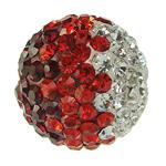 Diamant i rremë balta Beads hapë, Argjilë, Round, asnjë, me diamant i rremë, 8mm, : 2mm, 20PC/Qese,  Qese