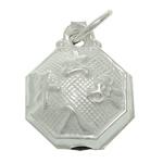 925 Sterling Silver varëse, Tetëkëndësh, argjend praruar vërtetë, asnjë, 8.40x10.80x4.80mm, : 3.3mm, 5PC/Qese,  Qese