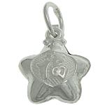 925 Sterling Silver varëse, Yll, argjend praruar vërtetë, 8.80x10.50x4.40mm, : 3.5mm, 5PC/Qese,  Qese