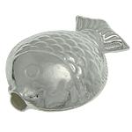925 Sterling Silver Beads, Peshk, argjend praruar vërtetë, 14.30x10.80x5.50mm, : 2mm, 5PC/Qese,  Qese