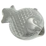 925 Sterling Silver Beads, Peshk, argjend praruar vërtetë, 9.20x7x4.50mm, : 1.5mm, 10PC/Qese,  Qese