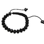 Crystal Shamballa Bracelets, Kristal, with Cord Wax, Rondelle, faceted, Reaktiv, 10x8mm, :7.5Inç,  7.5Inç,
