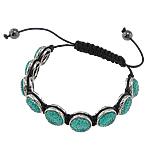 Rrëshirë Shamballa Bracelets, with Cord Wax & plastike bakrit të veshura, endura, 14x7mm, :7.5Inç,  7.5Inç,