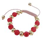 Shamballa Bracelets kuqe e mbylltë, Jo-magnetike kuqe e mbylltë, with Cord Wax & Akrilik, me diamant i rremë, 10mm, :7.5Inç,  7.5Inç,