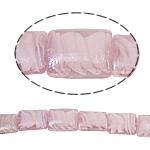 Handgewickelte Perlen, Lampwork, Rechteck, innen Twist, Rosa, 15x20x9mm, Bohrung:ca. 2mm, 100PCs/Tasche, verkauft von Tasche