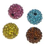 Strass Ton befestigte Perlen, Lehm pflastern, rund, mit 83 Stück Strass, gemischte Farben, 10mm, Bohrung:ca. 2mm, 15PCs/Tasche, verkauft von Tasche