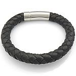Rindsleder Armband, Kuhhaut, Edelstahl Verschluss, schwarz, 10mm, 32x11mm, verkauft per ca. 8.5 ZollInch Strang