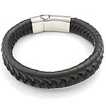 Herren-Armband & Bangle, Kuhhaut, Edelstahl Magnetverschluss, schwarz, 14mm, 33.5x14mm, verkauft per ca. 8.5 ZollInch Strang
