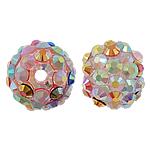 Harz Strass Perlen, rund, mit Strass, 12x14mm, Bohrung:ca. 3mm, 100PCs/Tasche, verkauft von Tasche
