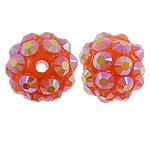 Beads diamant i rremë Rrëshirë, Rrëshirë diamant i rremë, Round, asnjë, me diamant i rremë, 10x12mm, : 2mm, 100PC/Qese,  Qese