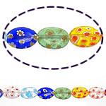 Millefiori Glass Beads, Oval, ngjyra të përziera, 14x10x4mm, :15Inç, 10Fillesat/Shumë,  Shumë