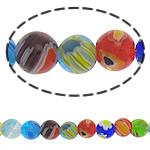 Millefiori Glass Beads, Round, ngjyra të përziera, 10mm, :15Inç, 10Fillesat/Shumë,  Shumë